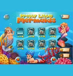 pretty little mermaid game template vector image