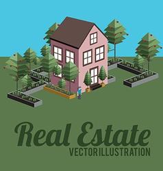 Real estate design over landscape background vector image