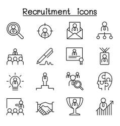Recruitment career job icon set in thin line vector
