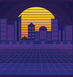 Retro sci fi background scenery vector