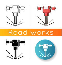 Road works perforator icon construction vector