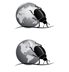Scarab and globe bw vector