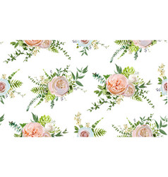 Seamless pattern bouquets pink white garden vector
