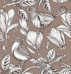 seamless pattern magnolia flowers vector image