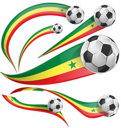senegal flag set with soccer ball vector image