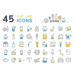 Set Flat Line Icons Drinks and Alcohol vector image