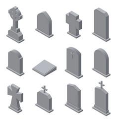 Set of gravestones isolated on white background vector