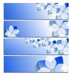 Set of horizontal banners blue with sakura vector