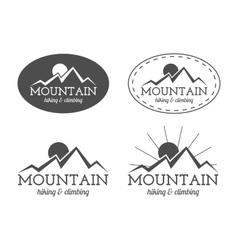 Set of monochrome mountain camp badge logo vector