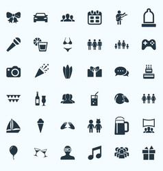 Set of simple party icons vector