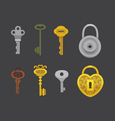 set of vintage keys and locks vector image