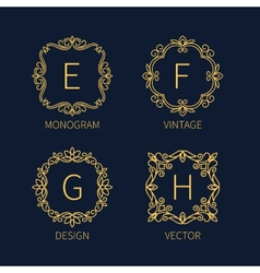 Set outline monograms frame vector image
