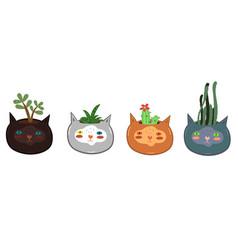 Set pots for indoor plants in shape cat vector