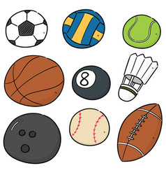 Set sport equipments vector