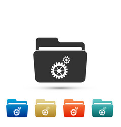 Settings folder with gears icon isolated vector