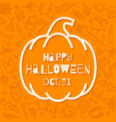 silhouette a pumpkin with halloween greeting vector image