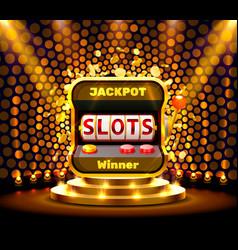 Slots 777 banner casino on golden background vector