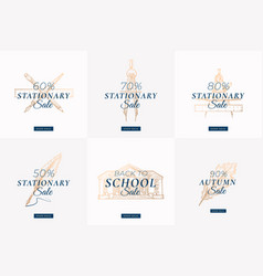 stationary autumn sale set abstract labels vector image