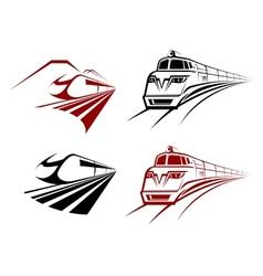 Stylized speeding train or subway icons vector image