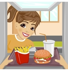 teenager girl with fast food meals vector image