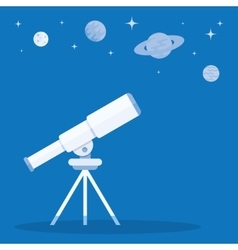 Telescope on tripod and blue stars around vector