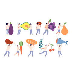 Tiny people hold big food fruit vegetables giant vector