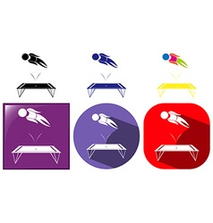 Trampoline jumping icon in three designs vector image