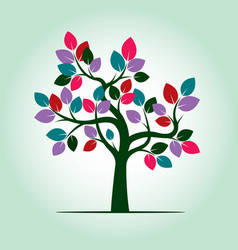 tree with color leafs vector image