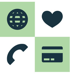 User icons set collection of earth card phone vector