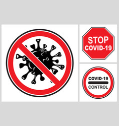 various signs a ban on coronavirus infection vector image