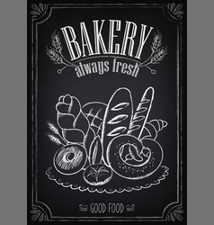 Vintage bakery poster with pastry freehand drawing vector
