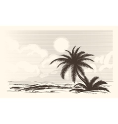 Vintage palm tree sketch vector image
