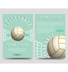Volleyball brochure flyer template vector