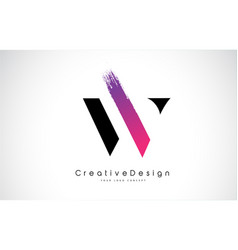W letter logo design with creative pink purple vector