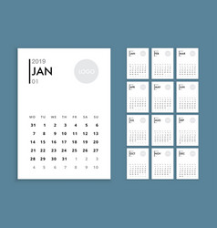 wall calendar 2019 template vector image