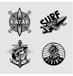 Water sport vintage embleme set with kayak scuba vector