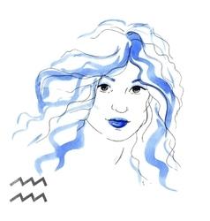 Watercolor Aquarius girl vector image
