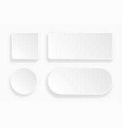 Web embossed 3d buttons white blank 3d icons vector