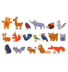Wild forest animals set cute cartoon bear bird vector