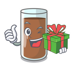 With gift fresh chocolate splash on pouring mascot vector
