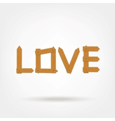 Wooden Boards Love Word vector image