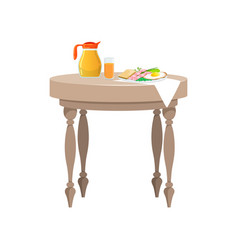 Wooden table with food for breakfast vector