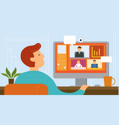 Working from home video conference vector