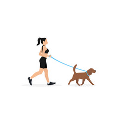 young woman in sportswear running with dog vector image