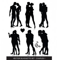 couple silhouettes set vector image