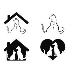 dog and cat pet caring symbol vector image