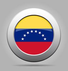 flag of venezuela shiny metal gray round button vector image