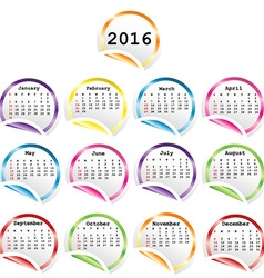 2016 Calendar with round glossy stickers vector image vector image