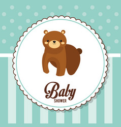 baby shower card invitation with bear vector image