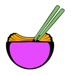 bowl of rice with chopsticks icon cartoon vector image